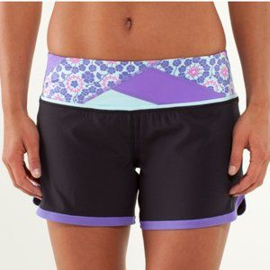 Lululemon Groovy Run Short Black/Quilt Purple 2